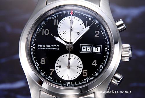 【HAMILTON】ハミルトン 腕時計 Khaki Field Auto Chrono (カーキ フィールド オート クロノ) ブラック×シルバー H71566133