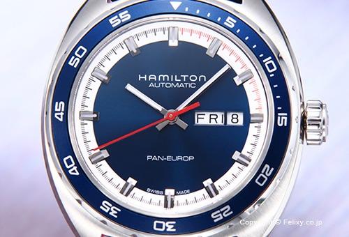 【HAMILTON】 ハミルトン 腕時計 Pan Europ Auto (パンユーロ オート) ブルー H35405741
