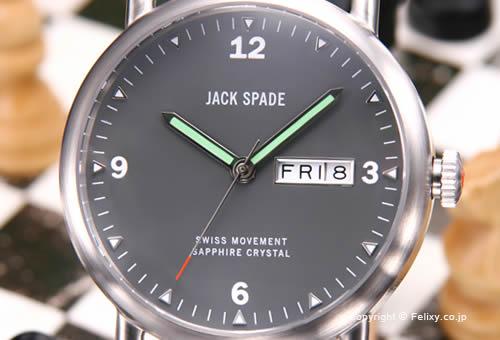 【JACK SPADE】ジャックスペード 腕時計 Buckner (バックナー) グレー/ブラックレザーストラップ WURU0021