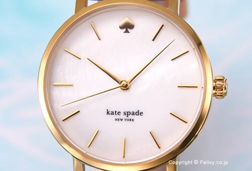 【KATE SPADE】ケイトスペード 腕時計 Metro (メトロ) ホワイトパール×イエローゴールド/バチェッタレザーストラップ レディス 1YRU0073