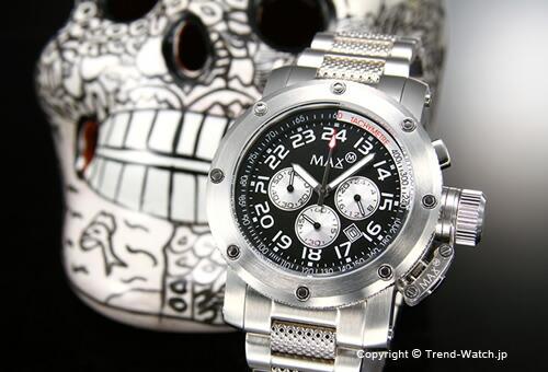 【MAX XL WATCHES】 マックス 腕時計 Chronograph 47mm (クロノグラフ) SS/ブラック 5-MAX480