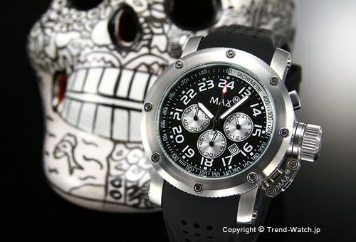 【MAX XL WATCHES】 マックス 腕時計 Chronograph 47mm (クロノグラフ) SS ブラック/ブラックラバーストラップ 5-MAX421