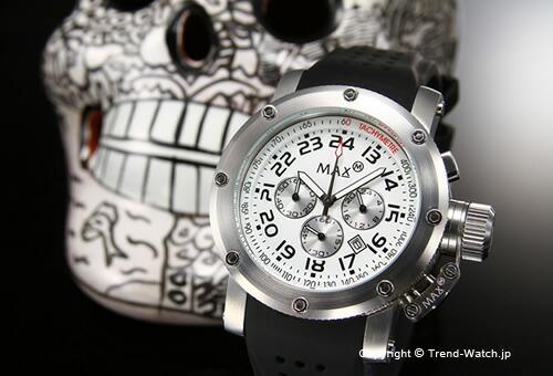 【MAX XL WATCHES】 マックス 腕時計 Chronograph 47mm (クロノグラフ) SS ホワイト/ブラックラバーストラップ 5-MAX422