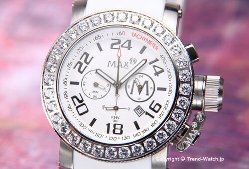 【MAX XL WATCHES】 マックス 腕時計 Chronograph 42mm (クロノグラフ) SS(クリスタルベゼル) ホワイト/ホワイトラバーストラップ 5-MAX486