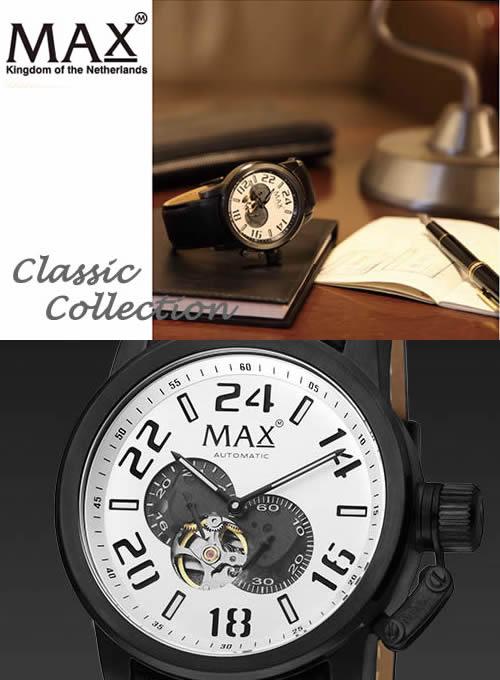 【MAX XL WATCHES】 マックス 腕時計 Classic Collection Automatic 47mm (クラシック コレクション オートマチック) SS(ブラックIPベゼル) シルバー/ブラックレザーストラップ 5-MAX528