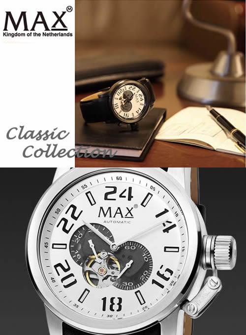 【MAX XL WATCHES】 マックス 腕時計 Classic Collection Automatic 47mm (クラシック コレクション オートマチック) シルバー/ブラックレザーストラップ 5-MAX530