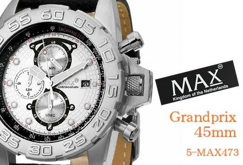 【MAX XL WATCHES】 マックス 腕時計 Grandprix 45mm (グランプリ) シルバー/ブラックレザーストラップ 5-MAX473