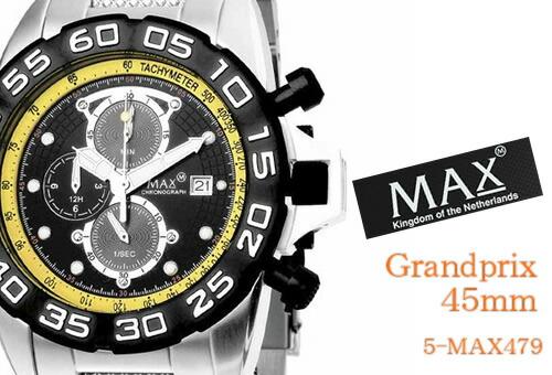 【MAX XL WATCHES】 マックス 腕時計 Grandprix 45mm (グランプリ) ブラック×イエロー 5-MAX479