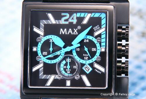 【MAX XL WATCHES】 マックス 腕時計 Grandprix Square (グランプリ スクエア)  オールブラック×ライトブルー/ブラックレザーストラップ 5-MAX526