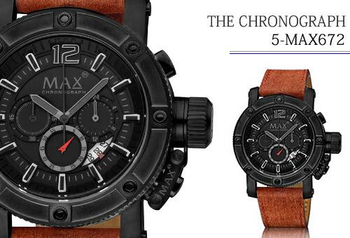 【MAX XL WATCHES】 マックス 腕時計 The Chronograph (ザ クロノグラフ) オールブラック×ブラウン 5-MAX672
