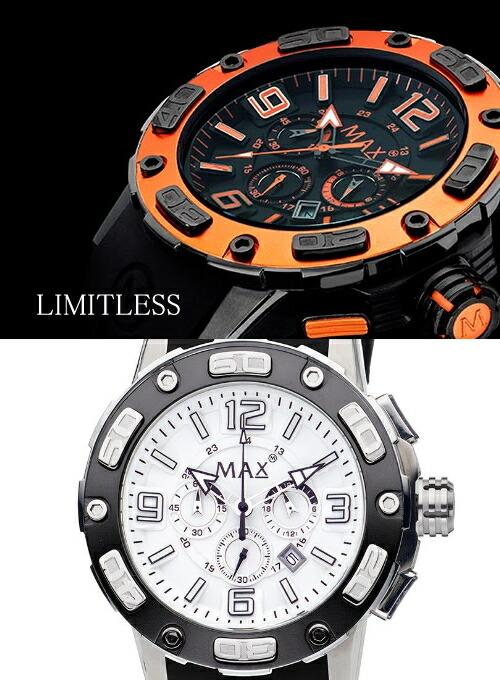 【MAX XL WATCHES】 マックス 腕時計 Limitless (リミットレス) ホワイト/ブラックラバーストラップ 5-MAX690