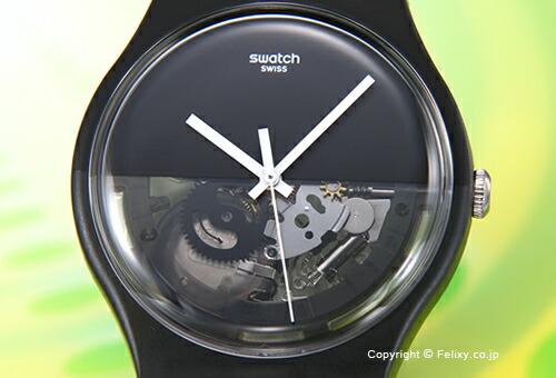 【SWATCH】 スウォッチ 腕時計 NEW GENT DIPBLACK (ニュージェント ディップブラック) ハーフスケルトン SUOB116