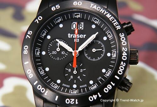 【TRASER】トレーサー 腕時計 Classic Chronograph Big Date Pro (クラシッククロノグラフ ビックデイト プロ) SS(ブラックPVD)/ブラック T4004.357.37.01