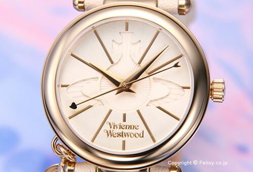 【Vivienne Westwood】ヴィヴィアン ウエストウッド 腕時計 Orb II (オーブ2) クリームホワイト×ゴールド/クリームホワイトレザーストラップ レディス VV006WHWH