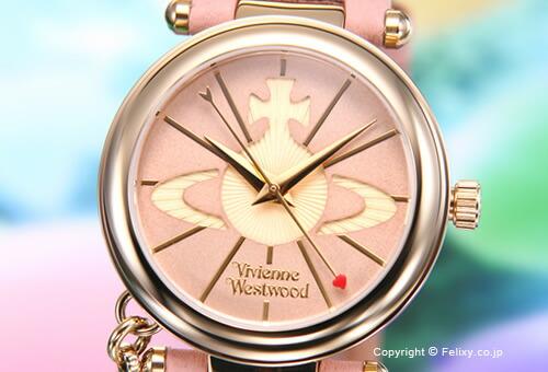 【Vivienne Westwood】ヴィヴィアン ウエストウッド 腕時計 Orb II (オーブ2) クリームピンク×ゴールド/クリームピンクレザーストラップ レディス VV006PKPK