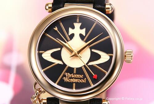 【Vivienne Westwood】ヴィヴィアン ウエストウッド 腕時計 Orb II (オーブ2) ブラック×ゴールド/ブラックレザーストラップ レディス VV006BKGD