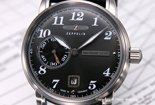 【ZEPPELIN】 ツェッペリン 腕時計 LZ 127 Count Zeppelin (LZ127 カウント ツェッペリン) メカニカル ダークグレー/ブラックレザーストラップ 7636-2