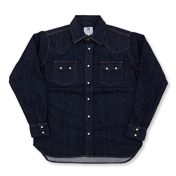 人気のブランチのシャツ。カットソー同様に素材には気を付けています。岡山生地、縫製商品です。INDIGOとBLACKの8OZdenim。洗えば洗うほどユーズド感覚で着こなせます。