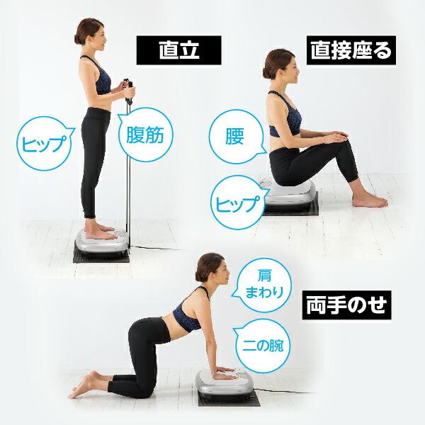 直立、直接座る、両手のせの3つの乗り方