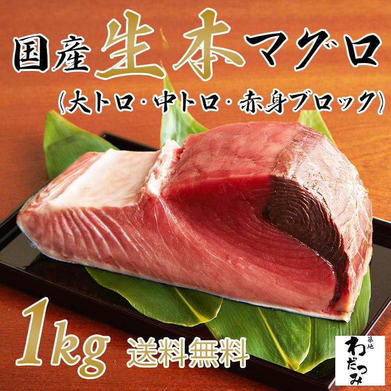 国産生本マグロ腹ブロック1kg 12000円 (税込) 送料無料
