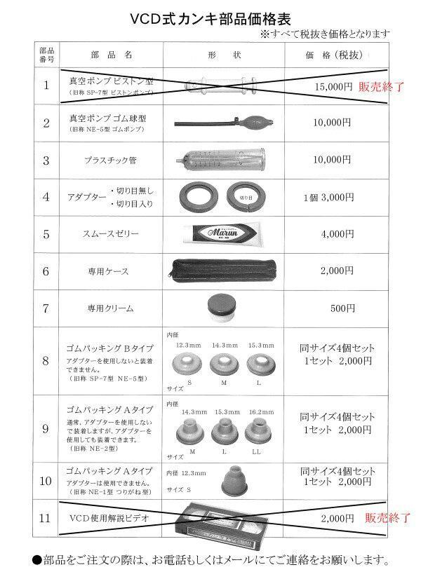 VCDカンキ部品表