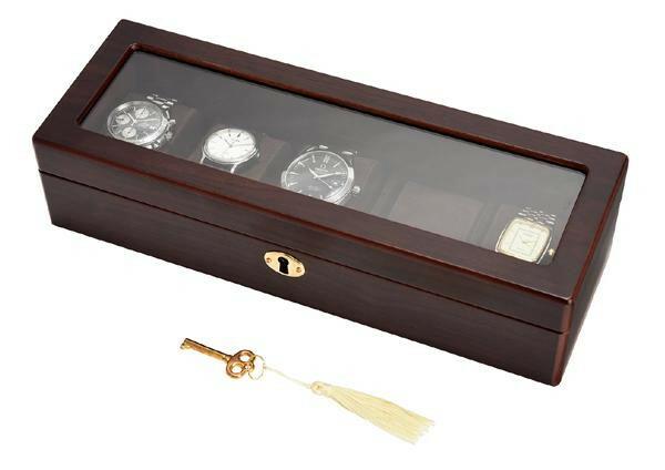 茶谷産業 Wooden Watch Case 木製ウォッチケース(コレクションケース) 5本用 856-120「通販百貨 Happy Puppy」