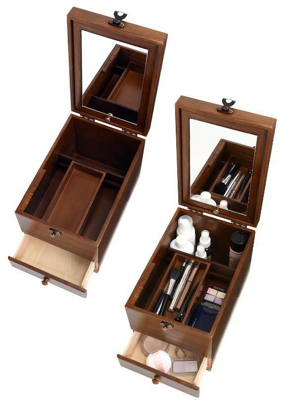 茶谷産業 日本製 Wooden Case 木製コスメティックボックス 017-513「通販百貨 Happy Puppy」