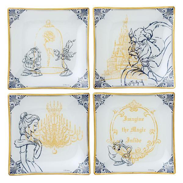 ディズニー 美女と野獣テーブルウェアコレクション ガラスプレート4Pセット 51077「通販百貨 Happy Puppy」