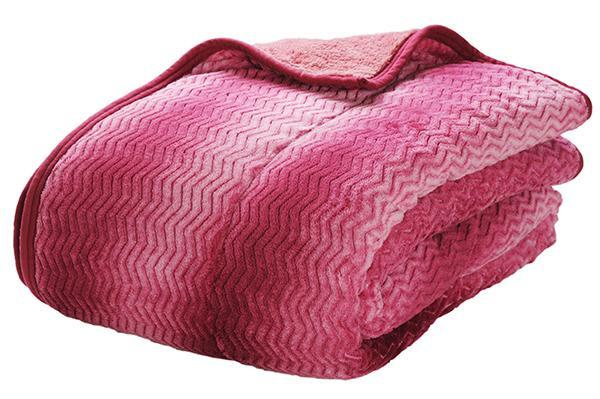 越後ふとん 吸湿発熱あったか2枚合わせ毛布 シングル(約140×200cm) ワイン系 123220「通販百貨 Happy Puppy」