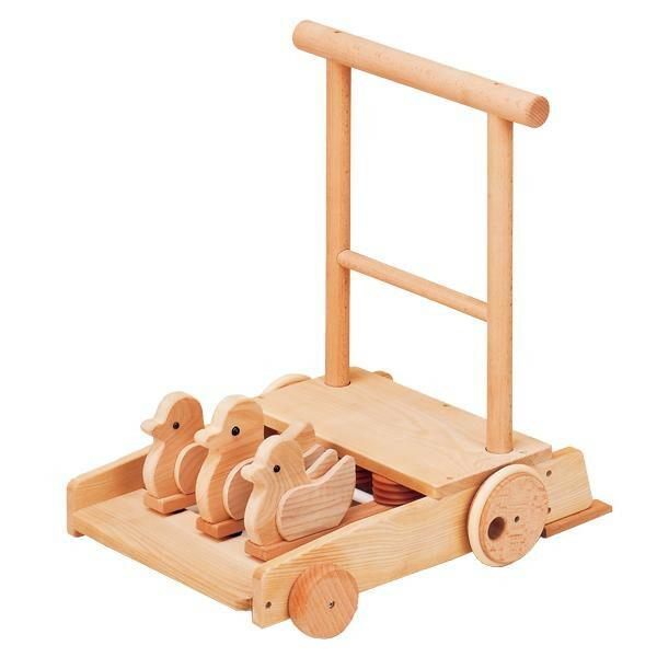 日本製の木製玩具 平和工業 MOCCO 森の押車(ことり) W-039「通販百貨 Happy Puppy」