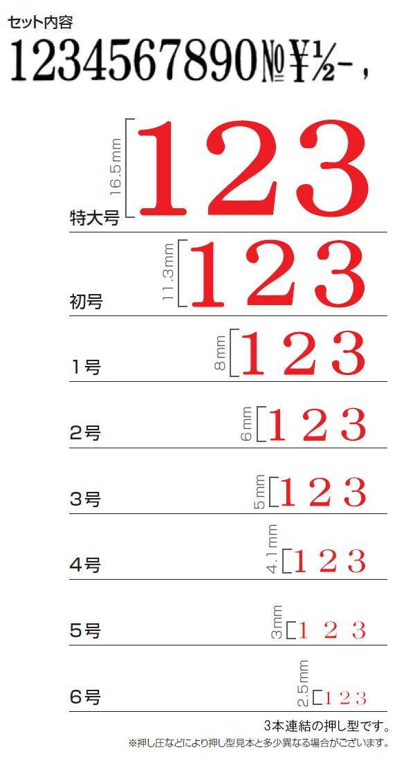 エンドレススタンプ 数字セット(明朝体) 15本セット 1号 EN-S1「NET Asahi」
