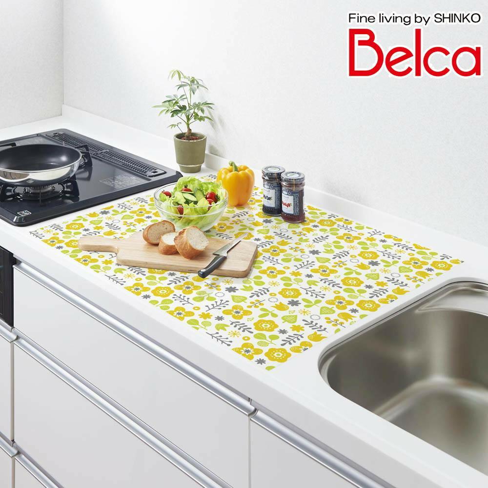 Belca(ベルカ) シリコン キッチントップ保護マット 75×60cm フォレストフラワー柄 SKM-7560FF「通販百貨 Happy Puppy」