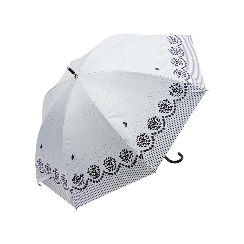 Fair mode 晴雨兼用 スライド傘 50cm ロイヤルフラワー SS-1709 ホワイト「通販百貨 Happy Puppy」