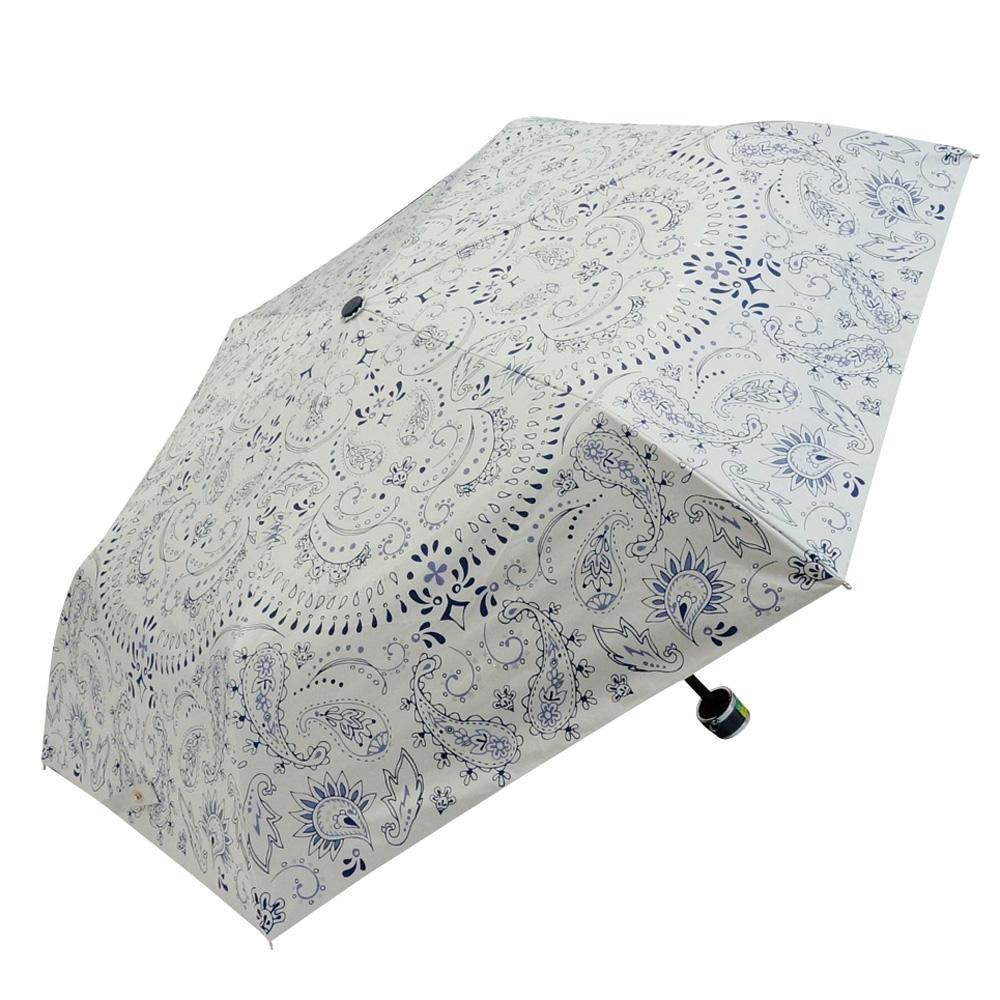 Fair mode 晴雨兼用 折りたたみ傘 50cm mini ペイズリー SM-1911 ホワイト「通販百貨 Happy Puppy」