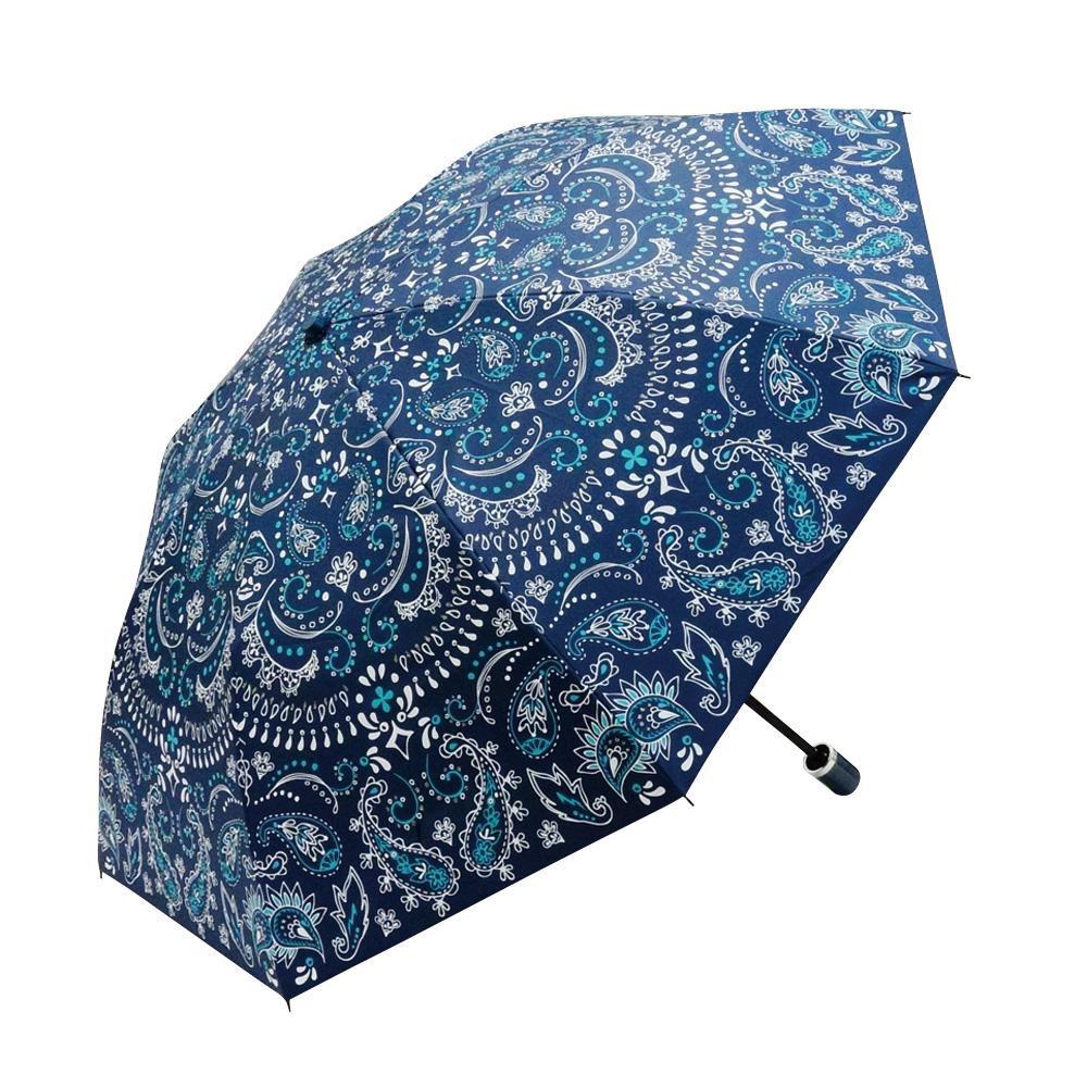 Fair mode 晴雨兼用傘 二つ折り 50cm ペイズリー O-1911 ネイビー「通販百貨 Happy Puppy」