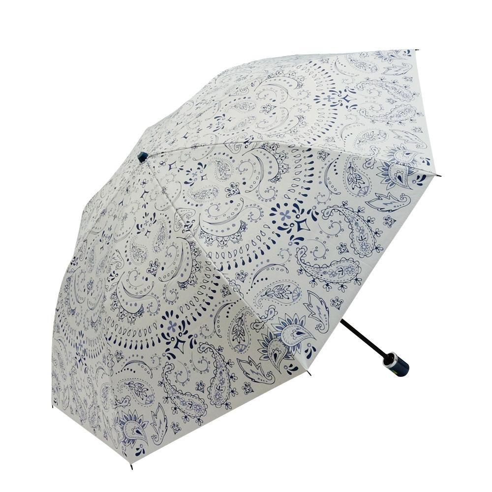 Fair mode 晴雨兼用傘 二つ折り 50cm ペイズリー O-1911 ホワイト「通販百貨 Happy Puppy」