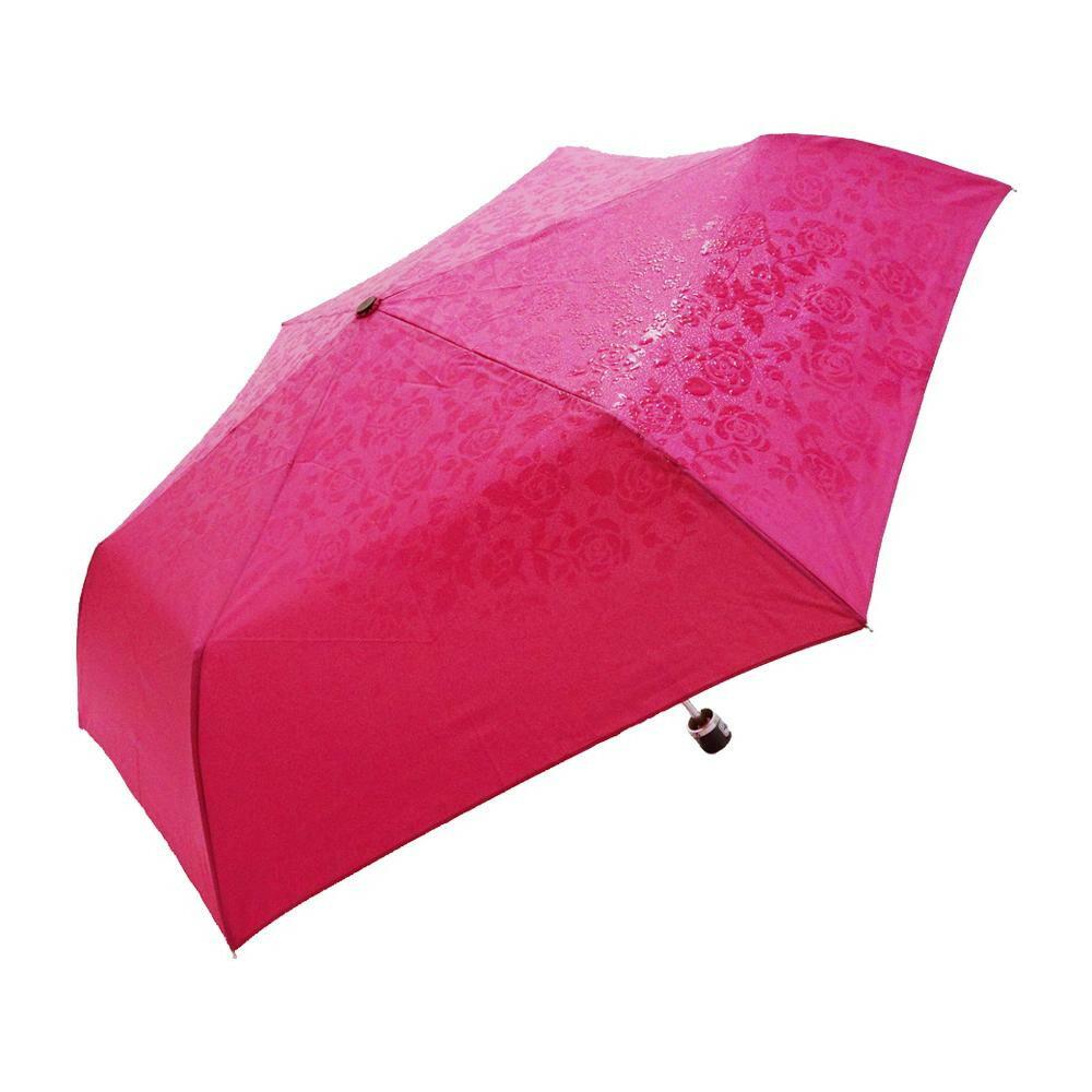 濡れると柄の浮き出る傘 折りたたみ 55cm mini バラ柄 M55-1717 ピンク「通販百貨 Happy Puppy」