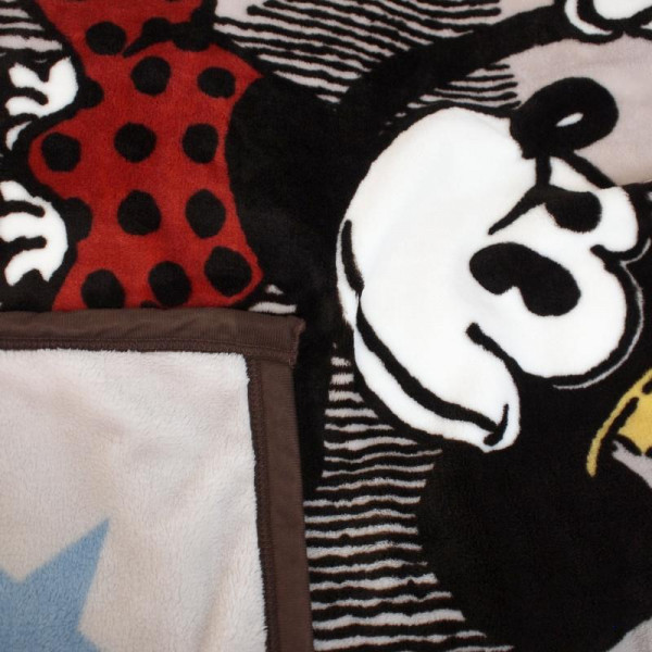 絵羽毛布 フランネル ディズニー ミッキー&ミニー SB-337「通販百貨 Happy Puppy」
