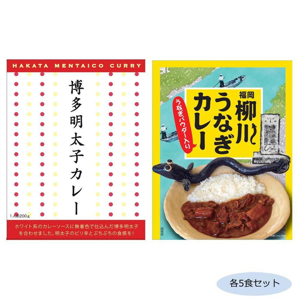 ご当地カレー 福岡博多明太子カレー&柳川うなぎカレー(うなぎパウダー入り) 各5食セット「通販百貨 Happy Puppy」