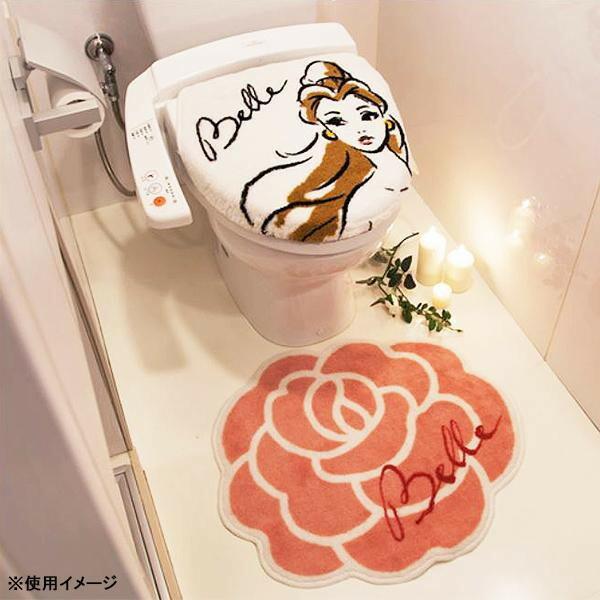 トイレ2点セット(フタカバー&トイレマット) ディズニー 美女と野獣 ベル NDY-15「通販百貨 Happy Puppy」