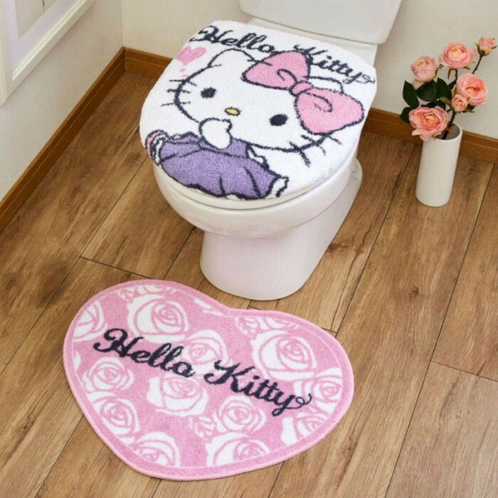 トイレ2点セット(洗浄・暖房便座用フタカバー&トイレマット) サンリオ ハローキティ SB-542-S「通販百貨 Happy Puppy」