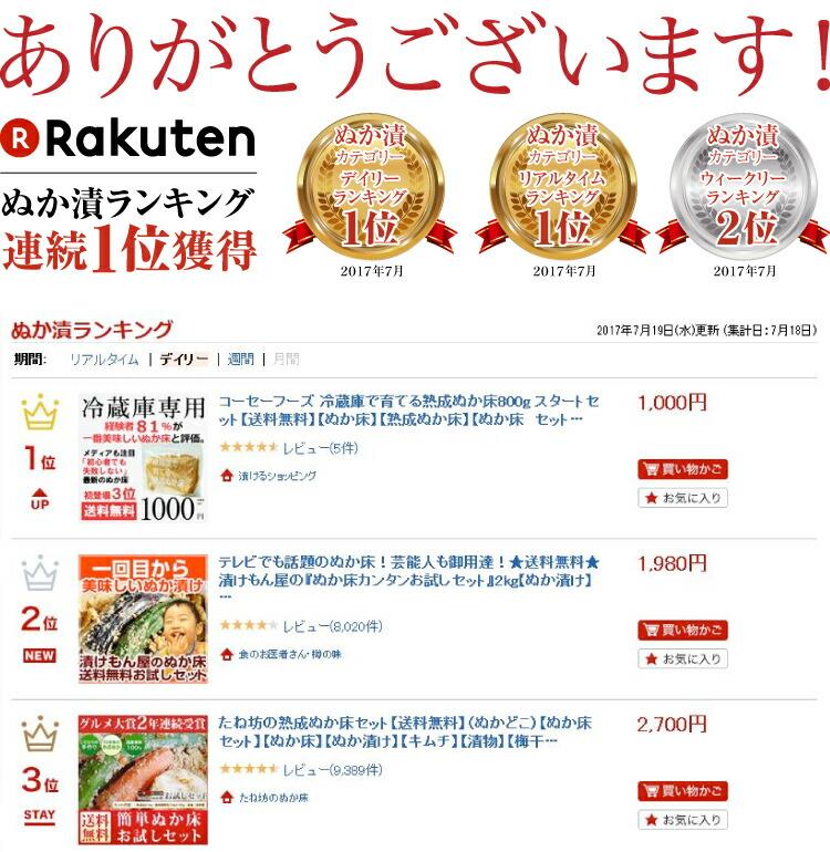 楽天 ぬか床 デイリーランキング1位獲得!楽天 ぬか床ランキング初登場3位獲得!
