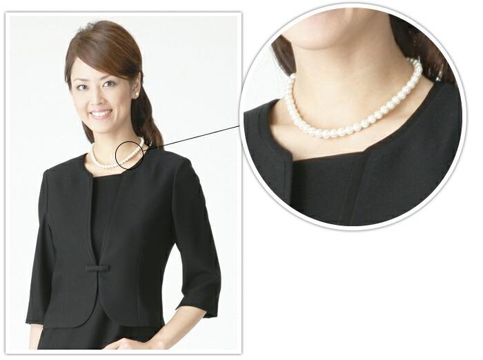 アクセサリーフォーマル用真珠風ネックレス&イヤリング(パールホワイトorグレー)