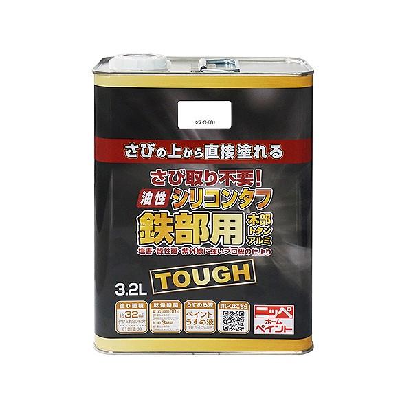 【送料無料】ニッペホーム 油性塗料 シリコンタフ 3.2L ホワイト(白) 1缶
