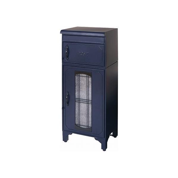 【送料無料】ヤマソロ 宅配ボックス付きポスト ブルー 幅40×奥行33×高さ100cm 73-840