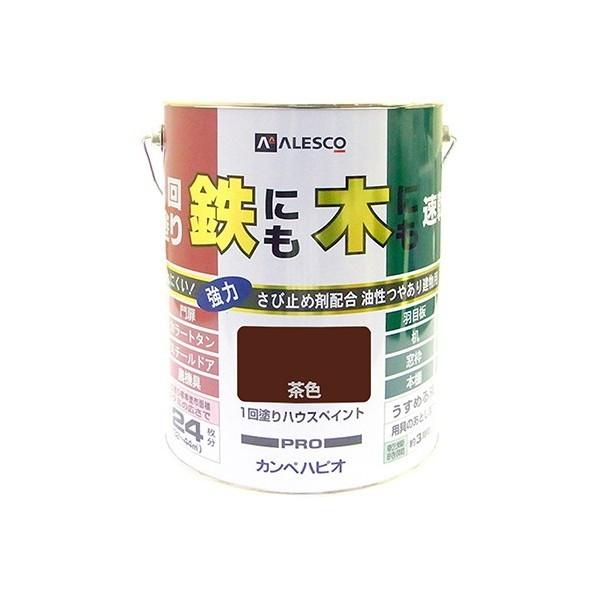 【送料無料】カンペハピオ 1回塗りハウスペイント(鉄にも木にも) 茶色 4L