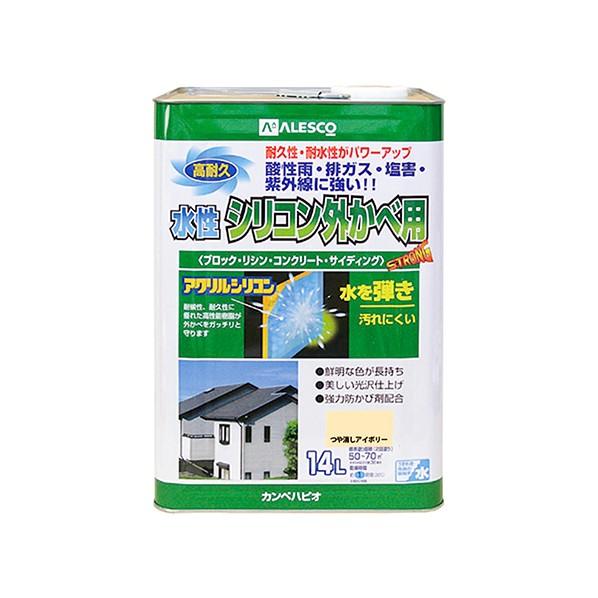 【送料無料】カンペハピオ 水性シリコン外かべ用 つや消しアイボリー 14L