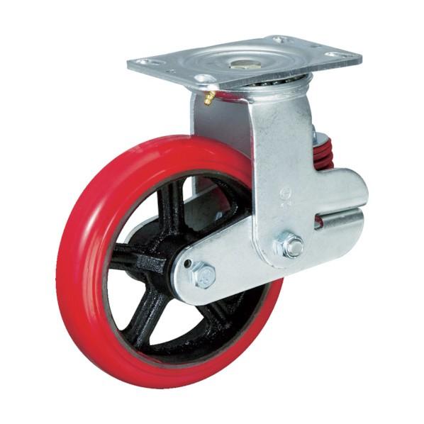 【送料無料】イノアック バネ付き牽引車輪(ウレタン車輪タイプ自在金具付Φ200) 258 x 123 x 251 mm KTU-200WJ-YS