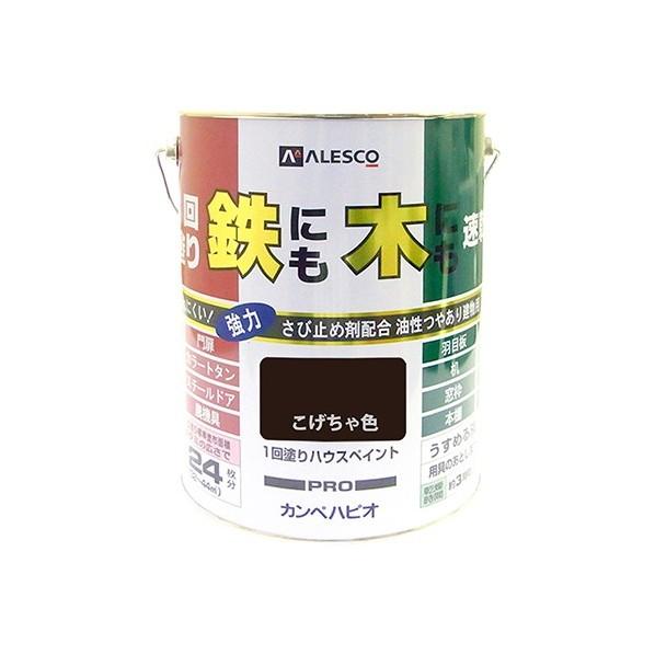 【送料無料】カンペハピオ 1回塗りハウスペイント(鉄にも木にも) こげちゃ色 4L
