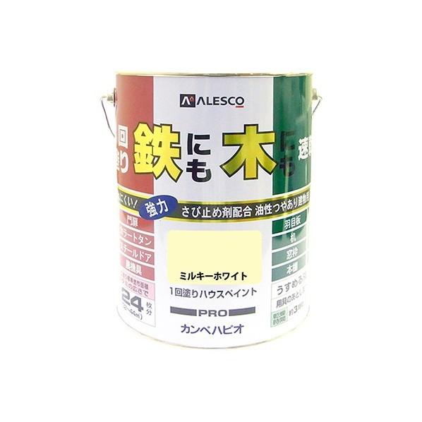 【送料無料】カンペハピオ 1回塗りハウスペイント(鉄にも木にも) ミルキーホワイト 4L